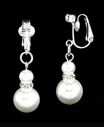 Strung Pearl & Diamond Clip-On  Earrings