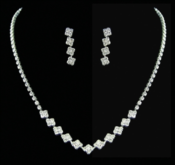 Rhinestone Necklace with Matching Drop Earrings Set