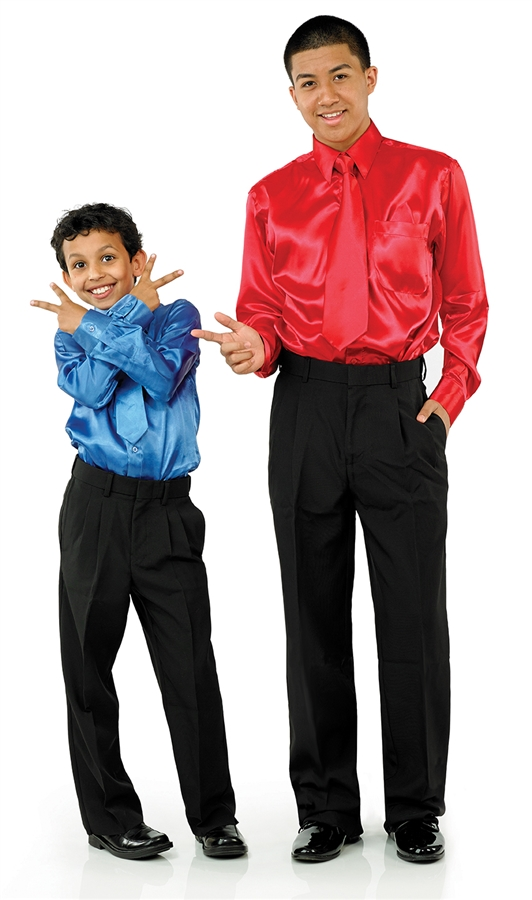 6704 Boys Boys Satin Dress Shirt With Poly Dress Trousers