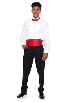 Basic Ensemble Package with Dress Pants. Guys and boys only. Includes: white shirt, Cummerbund and Bow tie, dress pants.