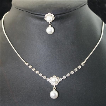 White Pearl Rhinestone Necklace Set