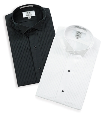 "Wing Tip Collar 1/4"" Pleated Tuxedo Shirt"