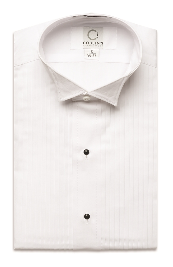 901 wing tip collar 1 4 pleated tuxedo shirt for Wing tip collar shirt