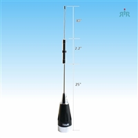 Antenna VHF 136-174 MHz 6/8 Wave, 4.1 dBd gain, NMO mounting, 200 Watts rating, no ground needs.
