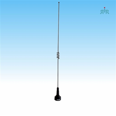 Antenna dual band, VHF 140-170 MHz unity gain and UHF 430-470 MHz 2.5 dBd gain, NMO mounting.