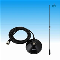 Antenna Dual Band VHF 144-148MHz unity gain, UHF 435-450MHz 2.5 dBd gain, with magnet mount and cable.