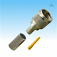 Connector Mini-UHF, crimp, for RG-58 RG-400 type coax cable.