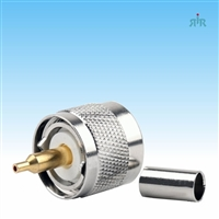 Connector UHF-Male, PL259, crimp, for RG-58 RG-400 type coax cable.