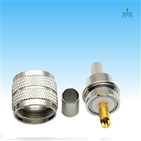 Connector UHF-Male, PL259, 2 pieces crimp, for RG-8X RG-59 type coax cable.