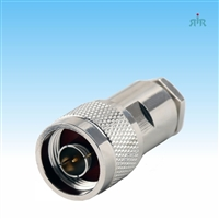 Connector N Male, clamp for RG-213, RG8 type coax cable.