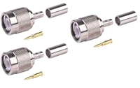 Connector TNC Male, Crimp, for RG58 Cable, set of 3 pieces.