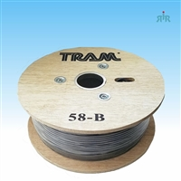 RG-58A/U coax cable, bare copper braid 95%, stranded bare copper conductor, 500ft. wood reel.