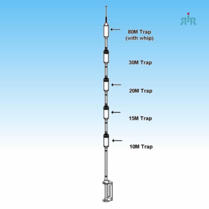 Hustler HF antenna for 10, 15, 20, 30, 40, 75/80 meter amateur bands  1500W  PEP