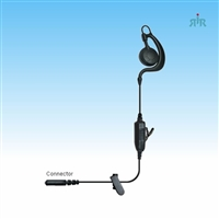 Earpiece AGENT Single-Wire C-Ring Style  for Motorola, Icom, Kenwood, Vertex and other Radios
