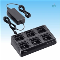 ICOM BC121N Universal Gang 6-Unit Rapid Charger. Requiring Radio Cups and AC Adapters.