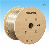 "LMR-400 braided coax cable, 0.405"" diameter, low loss, solid bare copper center conductor, 500ft wood reel."