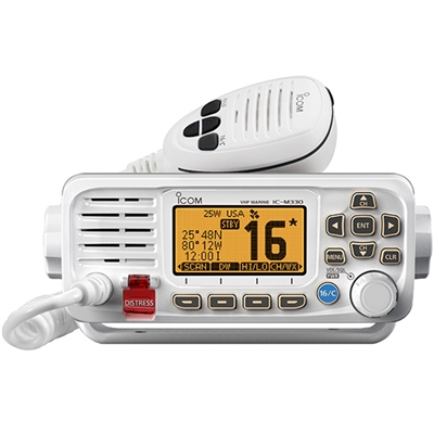 Icom IC-330, IC330G Marine VHF without or with built-in GPS receiver and supplied GPS antenna.