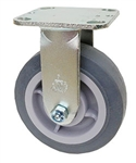 "Stainless Steel Medium Duty 5""x 2"" Rigid Caster TPR Grey Soft Rubber Wheel"
