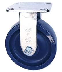 "Stainless Steel Medium Duty 5""x 2"""" Rigid Caster Solid Polyurethane Blue Wheel"