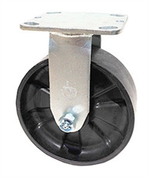 "Stainless Steel Medium Duty 8""x 2"""" Rigid Caster Nylon Wheel"