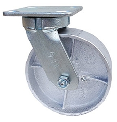 "Kingpinless Medium Duty 4""x 2"""" Swivel Caster Gray cast  Iron semi steel Wheel"