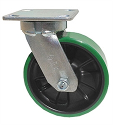 "Kingpinless Medium Duty 6""x 2"" Swivel Caster Polyurethane on Glass Filled Nylon Wheel"
