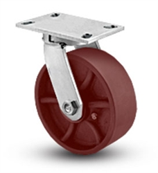 "Heavy Duty Kingpinless Swivel Caster with a 10"" x 3"" Ductile Steel wheel"