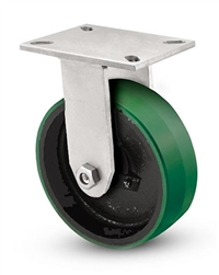 "Heavy Duty Rigid Caster with a 12"" x 3"" Polyurethane on cast iron wheel"