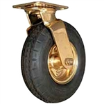 "Hospitality Caster, Brass Plated, Pneumatic 8""x 3"" Wheel, Swivel"