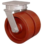 "Super Duty Dual Wheel Kingpinless Swivel Caster with a (2)-10"" x 4"" Ductile Steel wheel"