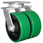 "Super Duty Dual Wheel Kingpinless Swivel Caster with a (2)-8"" x 4"" Polyurethane on cast iron wheel"
