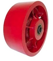 "10""x 3"" Ductile Steel Wheel Red Roller Bearing"