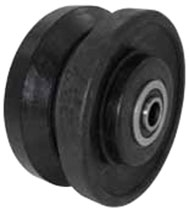 "4""x 2"" V-Groove Glass Filled Nylon Wheel, Roller Bearing"