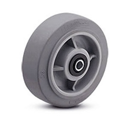 "4""x 2"" Soft Grey Rubber, Non Marking Wheel with Roller Bearing"
