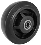 "4""x 2"" Rubber on Nylon Core Wheel, Roller Bearing"