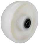 "8""x 2"" White Nylon Wheel, Roller Bearing"