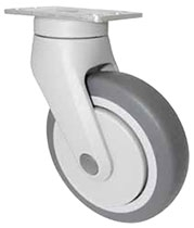 "Composite Swivel Light Duty Caster 5""X 1-1/4"" Rubber Wheel, Medical, Food"