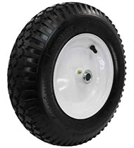 "12""x 3-1/2"" Air Filled Pneumatic Wheel Ball Bearing, White Centered Hub"