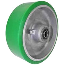 "4""x 2""  Polyurethane on Aluminum Wheel Green, Roller Bearing"