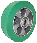 "8""x 2""  Polyurethane on Aluminum Mag  Wheel Green, Precision Bearing"
