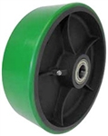 "10""x 3""  Polyurethane on Iron Wheel Green Wheel Roller Bearing"
