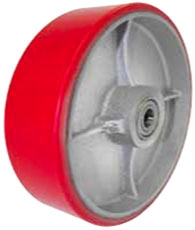 "4""x 2""  Polyurethane on Iron Wheel Red Wheel Roller Bearing"