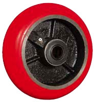 "5""x 2""  Round Crown Red Polyurethane on Iron Wheel Green Wheel Roller Bearing"