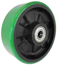 "8""x 2""  Polyurethane on Glass Filled Nylon Green Wheel Roller Bearing"