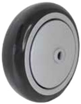 "4""x 1-1/4"" Black Polyurethane on Gray Polyolefin Core Wheel, Precision Sealed Bearing"