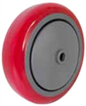 "5""x 1-1/4"" Red Polyurethane on Gray Polyolefin Core Wheel, Precision Sealed Bearing"