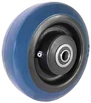 "8""x 2""  Blue Polyurethane on Black Polyolefin Core Wheel, Roller Bearing"