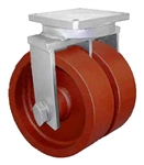 "Super Duty Dual Wheel Rigid Caster with a (2)-8"" x 4"" Ductile Steel wheel"