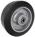 "4""x 2""  High Performance Rubber on Aluminum Wheel Black, Roller Bearing"