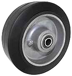 "6""x 2""  High Performance Rubber on Aluminum Wheel Black, Roller Bearing"